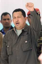 Gjenstanden for satiren, Hugo Chavez. (REUTERS/Chico Sanchez)