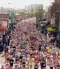 Jogging er masseidrett. Her fra London Marathon der Ingrid vant fire ganger og tok en verdensrekord som holdt i 13 år...
