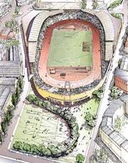 Utkast til nye Bislett stadion.