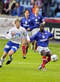 Pa-Modou Kah (t.h.) kan være aktuell for Rosenborg (Foto: Thomas Bjørnflaten/Scanpix)