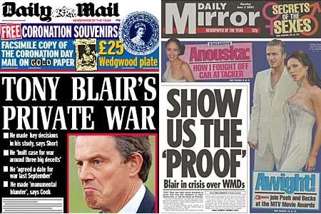 Presset øker mot statsminister Tony Blair. Her er dagens forsider fra avisene Daily Mail og Daily Mirror.