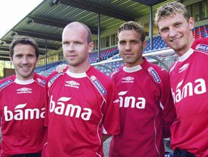 Disse fire var med da Danmark ble slått 2-0 i 1998: Øyvind Leonhardsen (til v.), Henning Berg, Håvard Flo og Tore Andre Flo. (Foto: SCANPIX)