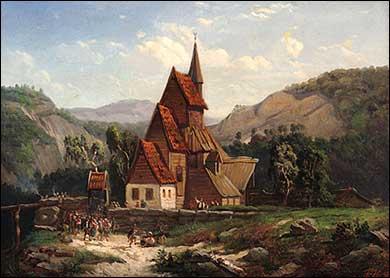 Usignert oljemåleri av gamle Stedje stavkyrkje etter tyskaren Andreas Aschenbach (1815-1907). Tittel: