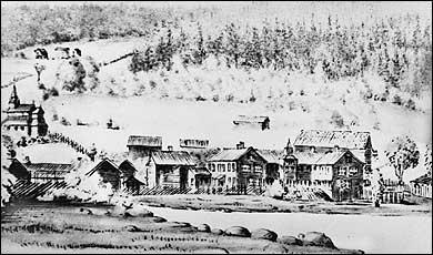 Gruunnkonstruksjonen til det gedigne hovudbygget på Kaupanger Hovedgård vart laga i von Ahnen si tid. (Teikning © Fylkesarkivet)