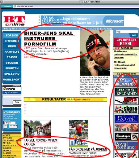 BTs forside 6. juni 2003 gjenspeiler det danske samfunnet. (bildet er ikke manipulert)