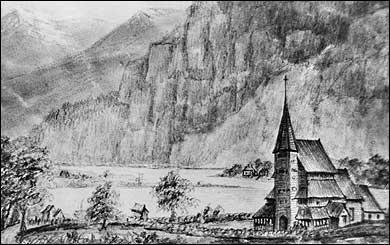 Teikning frå 1850 av Stedje gamle stavkyrkje. Denne var fjordundskyrkje. (Foto © Fylkesarkivet)