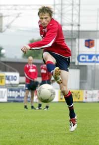 Frode Johnsen avslutter under trening med landslaget (Foto: Tor Richardsen/Scanpix)