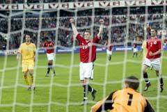 Ole Gunnar Solskjær scoret 1-1-målet mot Romania. (Foto: Tor Richardsen/Scanpix)