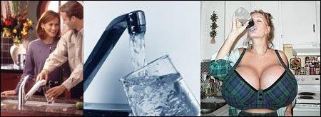 Vannindustrien fremstiller vann som et vidundermiddel (til venstre og midten), mens virkeligheten kan være en helt annen.