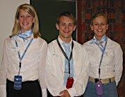 Tre av elevene bak mobilvotten. Monica Paulsen, Ola Buarøy og Kristina Hedemark.