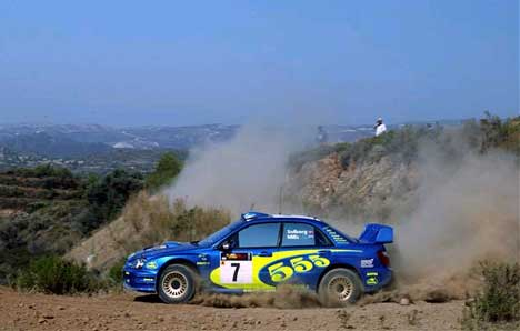 Petter Solberg i action på Kypros grusveier (Foto: www.swrt.com)