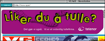 Ærlig reklame fra Telenor, fra 2003. (Alltid Moro)