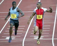 Mark Lewis Francis slo Dwain Chambers på 100 meteren. (Foto: Michael Steele/Getty Images)