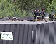 Skadene på bygningene til Hallingdal Fôrlag beløper seg trolig til millioner av kroner. (Alle foto: Gunnar Grimstveit)