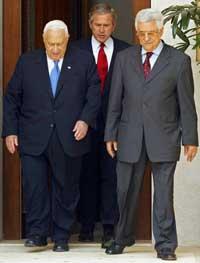 Mahmud Abbas og Ariel Sharon skal møtes igjen for første gang siden 4. juni, da under oppsyn av president George W. Bush. Foto: Scanpix/AFP