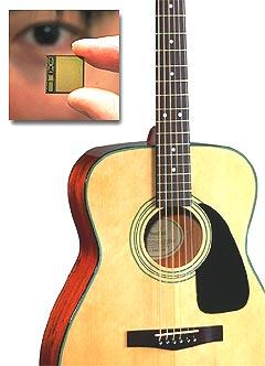 Når du kan installere en chip i gitaren din blir den enklere å finne tilbake til om noen stjeler den. Illustrasjon: Jørn Gjersøe, nrk.no/musikk. Foto: Fender / AP Photo / Itsuo Inouye.