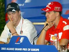 Michael Schumacher og Ralf Schumacher tok de to første plassene i Formel 1-runden i Canada. (AP Photo/Roberto Pfeil)