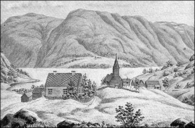 Solvorn og gamle Solvorn-kyrkja frå 1600-talet etter teikning av skulestyrar Martin Luther Storm. Kyrkja vart riven i 1883.