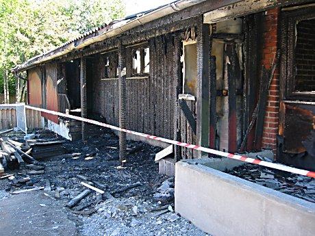 Slik så Sylling skole ut etter brannen.