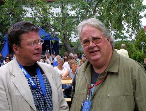 Lars Nilsen og Knut Borge e rkalr til direktesendt Studio Sokrates fra Moldejazz. Foto: Arne Kristian Gansmo, NRK.no/musikk