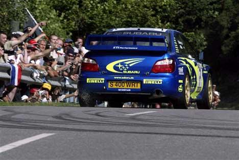 Solberg kjører med Pirelli-dekk. I Rally Tyskland kan nettopp dekkvalget bli avgjørende ( Foto: www.swrt.com )