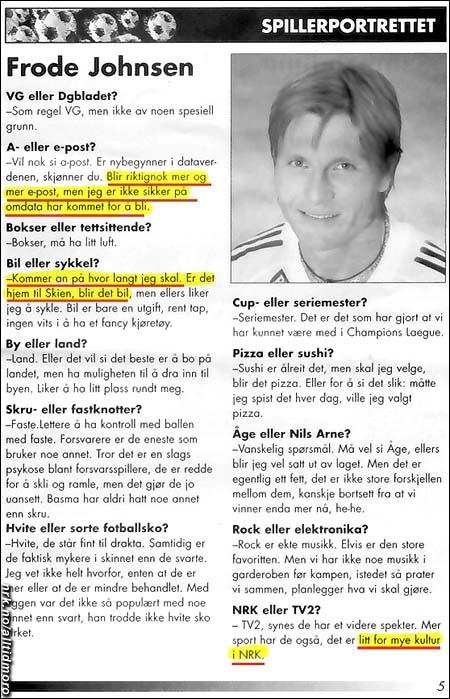 Ekte klipp fra RBKs spillerprogram sesongen 2003.