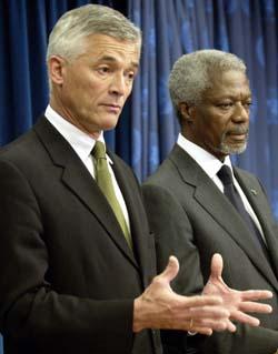 Sergio Mello ble introdusert som FN-utsending til Irak av Kofi Annan 27. mai i år. (Foto: C.East, Reuters)