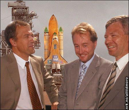 Reiten, Røkke og Bondevik er stolte over Norges første romferge.