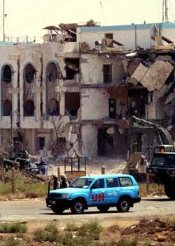 RUINER: Amerikanerne mener Ansar-al-Islam har noe med bomben mot FN-kontoret å gjøre. Foto: AP/SCanpix.