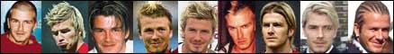 Et lite utvalg av Beckhams forskjellige hårsveiser.