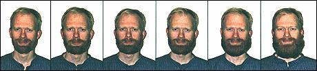 """Illustrasjon: Anders Kvåle Rue har fotografert seg sjølv mens han anla skjegg. Bilda er henta frå boka """"Skjegg - En kulturhistorie""""."""