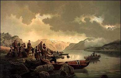 H. F. Gude måla dette biletet saman med Adolph Tidemand: «En ligfærd».