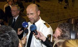 Leif Jennekvist,, sjef for länskriminalpolisen, sier at politiet ikke har noen mistenkte etter drapet på utenriksminister Anna Lindh. Foto: Maja Suslin, Scanpix