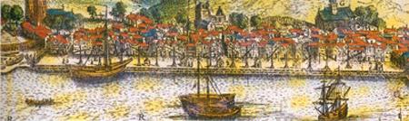 Scholeus laget det første bildet av Bergen i 1581. Her et utsnitt fra Bryggen.