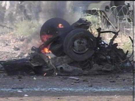 Det var ikkje mykje att av bilen til sjølvmordsbombaren.
