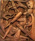 På Hylestad stavkirke er sagnet om Sigurd fremstilt. Her dreper han dragen.
