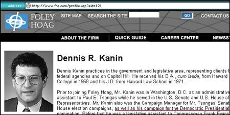 http://www.fhe.com/profile.asp?aid=121 Hr. Kanin har tidligere arbeidet som rådgiver for Demokratene i USA.