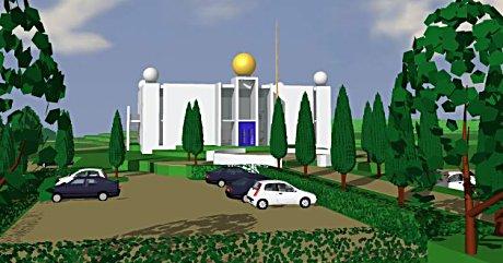 Slik ser arkitektkontoret Nils Tveit as for seg at et Sikh-tempel i Lier kan se ut.