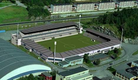 Color LIne Stadion i Ålesund. Fotomontasje: Biong Arkitekter, Oslo