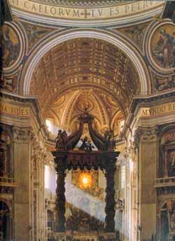 Berninis baldakin over høyalteret fra 1624-33.