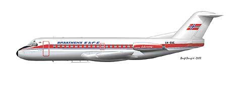 """LN SUC - """"Olav Kyrre"""" av typen Fokker F28 var det første jetflyet i rutefart i Nord-Norge."""