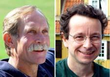 Peter Agre (t.v.) og Roderick MacKinnon, årets nobelpris-vinnere i kjemi. (Foto: AFP)