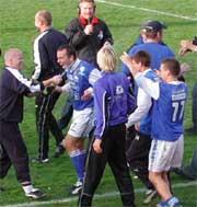 Sparta har hatt mye å glede seg over i oppgjøret mot Kongsvinger. Foto: NRK