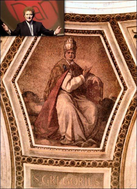 Dan Børge Akerø (oppe til venstre) og pave Gregorius. (Bildet er ikke manipulert...)