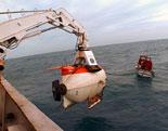 """En av to undervannsfarkoster som ble satt ut. Den ble tidligere brukt under inn-spillingen av spillefilmen """"Titanic""""."""