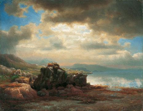 Kystlandskap med strandstein fra 1854