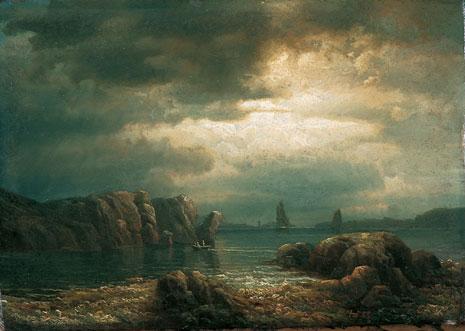 Kystlandskap med robåt og seilskip 1855