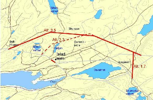Nye kraftledningstraséer forbi Istad uten ny stor transformatorstasjon ved den gamle på Istad.