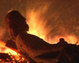 Flere figurer ble flammenes rov da Erkebispegården brant i 1983.