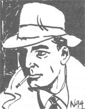 Philip Marlowe, tegnet av Nils Nordberg.